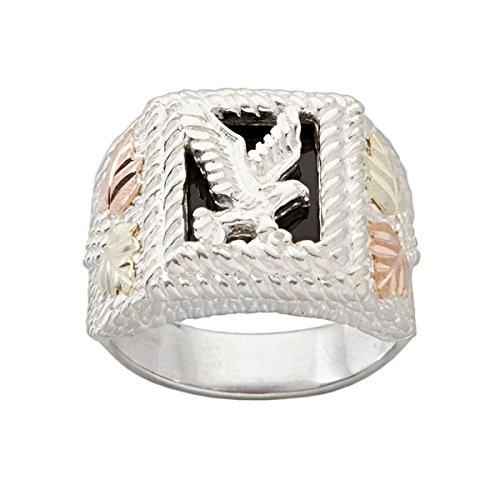 Men's Onyx Eagle Signet Ring, Sterling Silver, 12k Green and Rose Gold Black Hills Gold Motif, Size 10.5