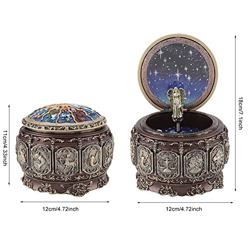 Jeffergarden Caja de música Vintage con 12 Constelaciones, Diosa giratoria, luz...