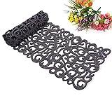 ZJChao Centrino da tavolo, motivo: fiori traforati, ideale per l'arredamento della stanza, lavabile, 100x 30cm grigio