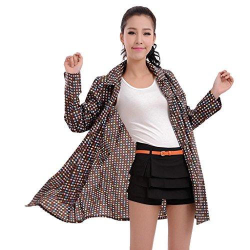 Vestes anti-pluie QFF Mme Poncho Raincoat Fashion Dots Thin Section Adult Raincoat (Couleur : Marron, Taille : L)