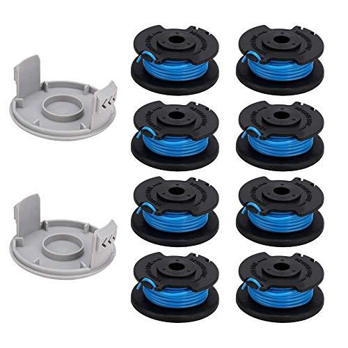 BGTOOL - Carrete de repuesto para desbrozadora de cuerdas de ajuste para Ryobi One Plus AC14RL3A de 18 V, 24 V, 40 V (8 unidades de carrete de línea de cortadora de césped + 2 tapas de recortadora)