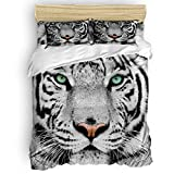 Duvet Cover Set Printed 4 Pcs Bedding Set Queen Size Include Duvet Cover, Bed Sheet, Pillow Shams Cool 3D White Tiger Face Animal Pattern Ultra Soft Comforter Quilt Cover Set for Kids/Adults