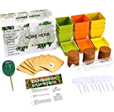ShaHa Herbs Organic Herb Growing Kit with Reusable Pots, Drip Trays, Plant Tags, Soil Discs & Moisture Meter | Home Gardening Herbs Kit-9 Different Types of Organic Seeds | Indoor or Outdoor Gardening