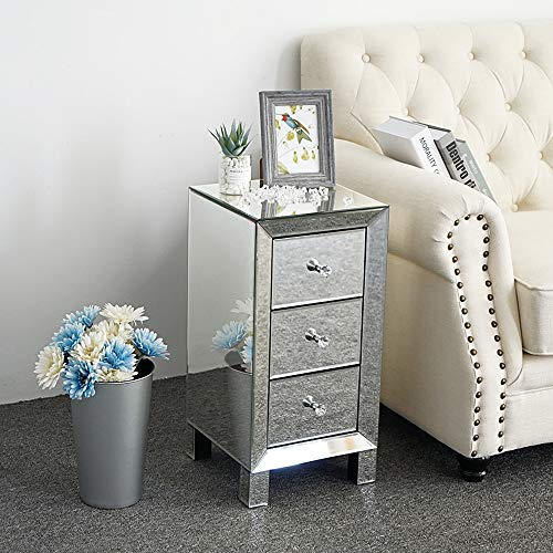 """Bonnlo 3-Drawer Mirrored Nightstand End Tables Bedside Table for Bedroom, Living Room, Silver, 11.7"""" L x 11.8"""" W x 23.9"""" H"""