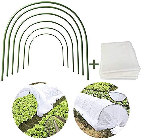 JYCRA - Mini serra a tunnel per proteggere e coltivare piante da giardino, copertura per fila di piante da 25 ml dotata di 6 cerchi in acciaio rivesti