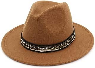 Lei Zhang Men Women Wool Fedora Hat With Striped Ribbon Jazz Hat Fascinator Hat