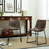 FurnitureMaxx Lotusville Vintage PU Leather Dining Chairs,...