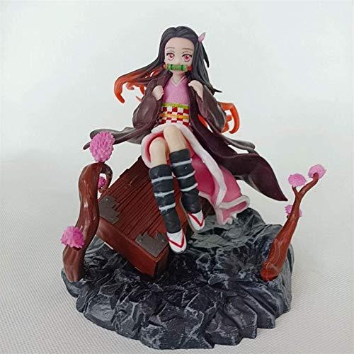 GOXJNG Figura de Acción Anime Figura de Anime Figura de acción Kamado Nezuko Sentado en una Maleta 18 cm Nendoroide Estatuilla Colección Decoración Modelo Niños Juguetes Doll Regalo