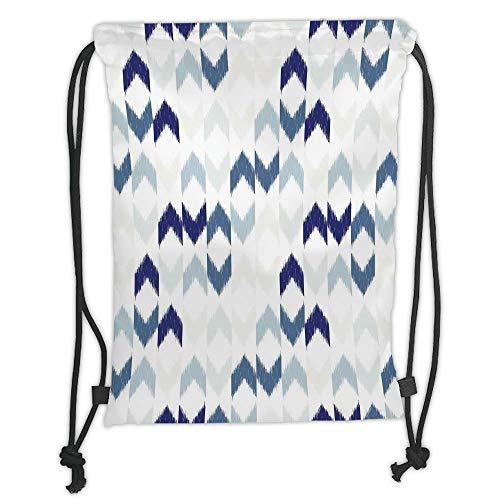 Fevthmii Drawstring Backpacks Bags,Navy,Abstract Ethnic Ikat Chevron with Hazy Zigzag Folk Traditional Image,Purple Slate Blue White Soft Satin,5 Liter Capacity,Adjustable String Closure,Th