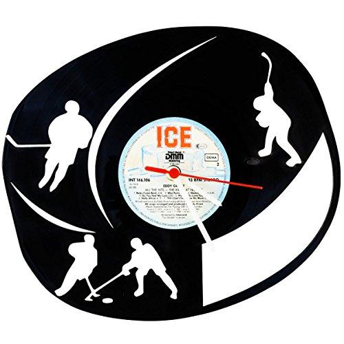 """GRAVURZEILE Wanduhr aus Vinyl Schallplattenuhr """"Ice Hockey"""" Upcycling Design Uhr Wand-Deko Vintage-Uhr Wand-Dekoration Retro-Uhr Made in Germany"""