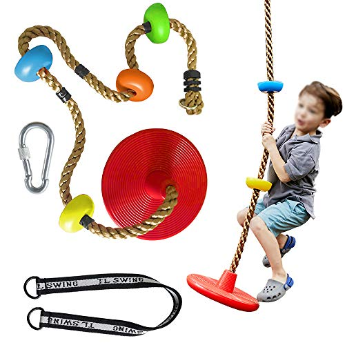 MelkTemn Climbing Rope Swing, Play Set Swings, Swing Climbing Rope, Multicolor Platforms and Disc Swings Seat, Outdoor playsets for Backyard, 220lb Weight Capacity
