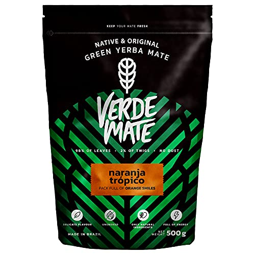 Yerba Verde Mate Green Naranja Tropico | Verde Mate Green Té Naranja Tropico | Yerba Mate de Brasil | Yerba mate con sabor | Sin gluten | Secada sin humo (500g) (Comestibles)