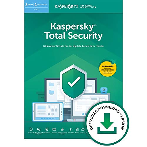 Kaspersky Total Security 2020 Standard | 3 Geräte | 1 Jahr | Windows/Mac/Android | Aktivierungscode per Email