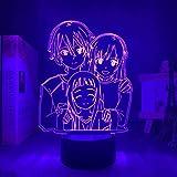 3D Illusion Lamp Anime Lantern Sword Art Online Yuuki Asuna,3D LED Luz Nocturna para Niños, 7 Colores Cambian con Control Remoto, Regalos para Niños Niñas