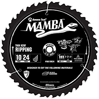 Amana Tool Mamba Series MA10024 Thin Kerf Ripping 10-Inch x 24 Tooth x ATB+F Grind 5/8-Inch Bore Saw Blade