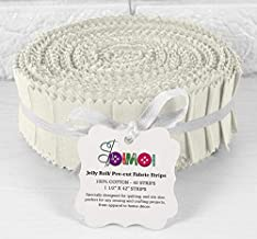 Soimoi 40Pcs Solid Off White Precut Fabrics Strips Roll Up 1.5 Inches Cotton Jelly Rolls for Quilting