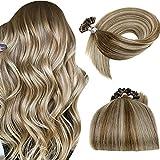 LaaVoo Human Hair U Tips Extensions Balayage Light Brown Ombre Platinum Blonde Pre Bonded U Tip Brazilian Hair Extensions Balayage Utips Blonde Hair Extensions Real Hair Silky Straight 50g/50s 22'
