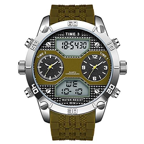 WNGJ Relojes Deportivos, Relojes de Pantalla led Dual Impermeable a Prueba de Agua para Hombre multifunción para Hombres para Estudiantes, Estilos, Negro Green