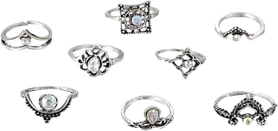 Snake Knuckle Stacking Ring Set Boho Vintage Rings Set for Women Opal Crystal Punk Goth Finger Ring Jewelry Gift for Women Men Girls