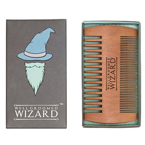 Well Groomed Wizard - Peine de madera para barba de doble cara, peine de aseo para hombres