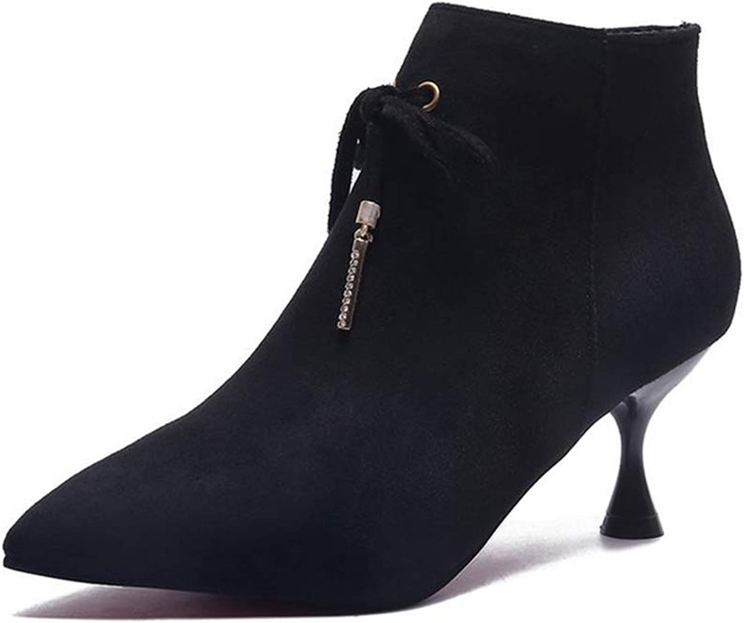 Women's Pointed Toe Ankle Boots Thin Heel Side Zipper Fashion Booties Elegant Stiletto Martin Boot
