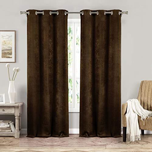 Générique Blackout365 Tenda per Finestra in Velluto Oscurante, Set di 2 Pannelli, Marrone Cioccolato, 37 x 213,4 cm