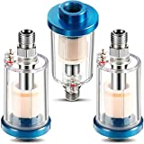 Water Oil Separator Filter Airbrush Filter Moisture Separator for Air Line Compressor Fitting, 1/4 Inch NPT Inlet and Outlet (3)