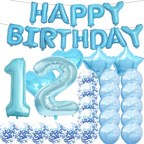Sweet 12th Birthday Decorations Party Supplies,Blue Number 12 Balloons,12th Foil Mylar Balloons Latex Balloon Decoration,Great 12th Birthday Gifts for Girls,Women,Men,Photo Props
