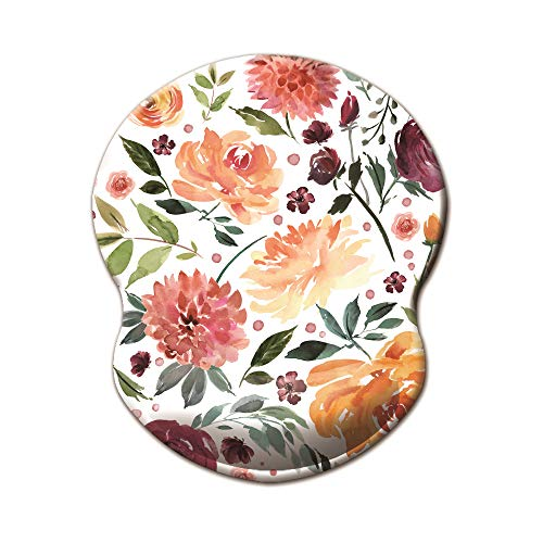 Dooke Ergonomic Mouse Pad with Wrist Support, Cute Mouse Pads with Non-Slip Rubber Base,Pink Flower