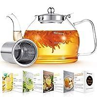 teiera, teiera vetro con infusore, 1200ml teiere in vetro borosilicato per tè sfuso e tè in fiore, teiera de colino in acciaio inossidabile, microonde sicuro, infusiera vetro con filtri