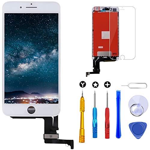 Brinonac Pantalla para iPhone 7 Plus, 5.5' Táctil LCD de Repuesto Ensamblaje de Marco Digitalizador con Herramienta de reparación y Protector de Pantalla (Blanco)