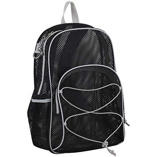 Eastsport Mesh Bungee Backpack With Padded Shoulder Straps, Black Mesh/Gray/Hexagon Dotted Print Straps