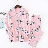 XFLOWR Spring Lady Cute Rabbit Pijama Stripe Femme Pyjama Set Turn-Down Collar Mujer Algodón Ropa de casa Ropa de Dormir con Gran tamaño L Conejo Rosa