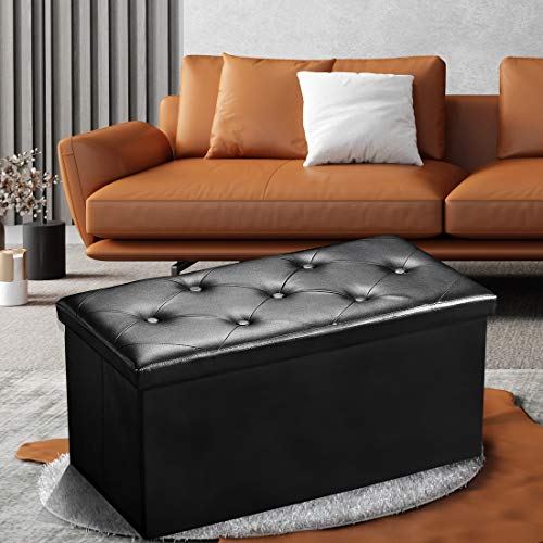 SUNNYSHAW 30 Inches Folding Storage Ottoman Bench Chest Padded Foam Seat Stool Footrest with 80L Space Faux Leather Black Holds Up to 350lb