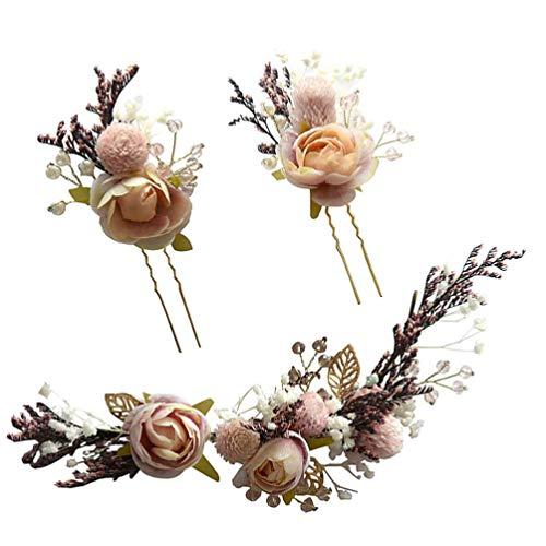 Lurrose 3 piezas horquillas para el cabello nupcial flores de hilo retro pinzas para el cabello de la boda tocados de la novia accesorios para el cabello para el banquete de boda