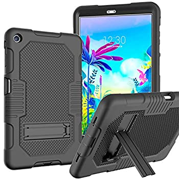 JSUSOU Case for LG G Pad 5 10.1 FHD 2019 | Heavy Duty Drop Proof Soft Silicone Rugged Hard Protective Case with Built-in Kickstand Case Cover for LG G Pad 5 10.1 inch FHD Tablet 2019 for Kids | Black