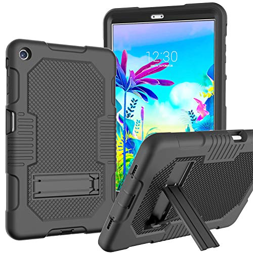 JSUSOU Case for LG G Pad 5 10.1 FHD 2019   Heavy Duty Drop Proof Soft Silicone Rugged Hard Protective Case with Built-in Kickstand Case Cover for LG G Pad 5 10.1 inch FHD Tablet 2019 for Kids   Black