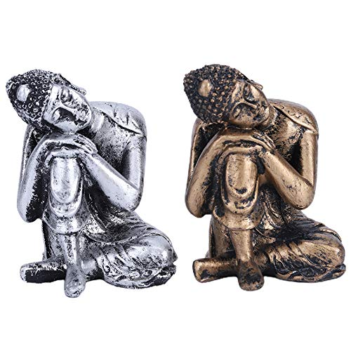 Zerodis Sleeping Buddha Statue 2Pcs/Set Sleeping Buddha Statue Figurine Ornament Art Crafts Buddhist Supplies Decoration