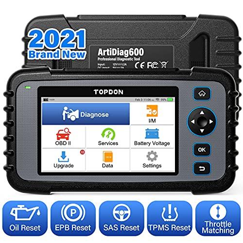 TOPDON ArtiDiag600 OBD2 Scanner Diagnosi per Motore Trasmissione ABS SRS Strumento Diagnostico Auto Reset Olio/EPB/SAS/TPMS Abbinamento Acceleratore AutoVIN Aggiornamento Gratuito