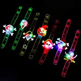 Decorlife 25PCS Halloween Party Favor for Kids, LED Glow Bracelets for Trick or Treaters, Light up Party Favors for Glow in The Dark Party Supplies