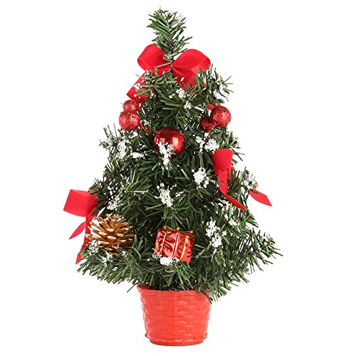 URMAGIC Tabletop Mini Christmas Tree,12/16 Inch Artificial Christmas Tree with Ball Ornaments,Bowknot,Pinecone,Gift Box,Desk Artifical Mini Xmas Pine, Christmas Desk Decorations,Shippin from US