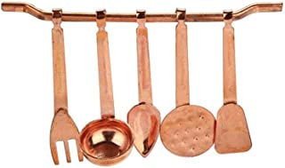 Gbell 6PC Mini Kitchen Room Copper Cooking Tool Set for 1/12 Miniature Dollhouse Accessories Toys,Baby Girls Gifts Favor (Metallic)
