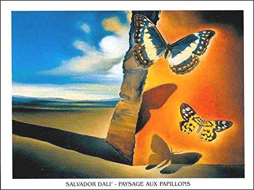 Lámina 'Paisaje con mariposas', de Salvador Dalí, Tamaño: 80 x 60 cm