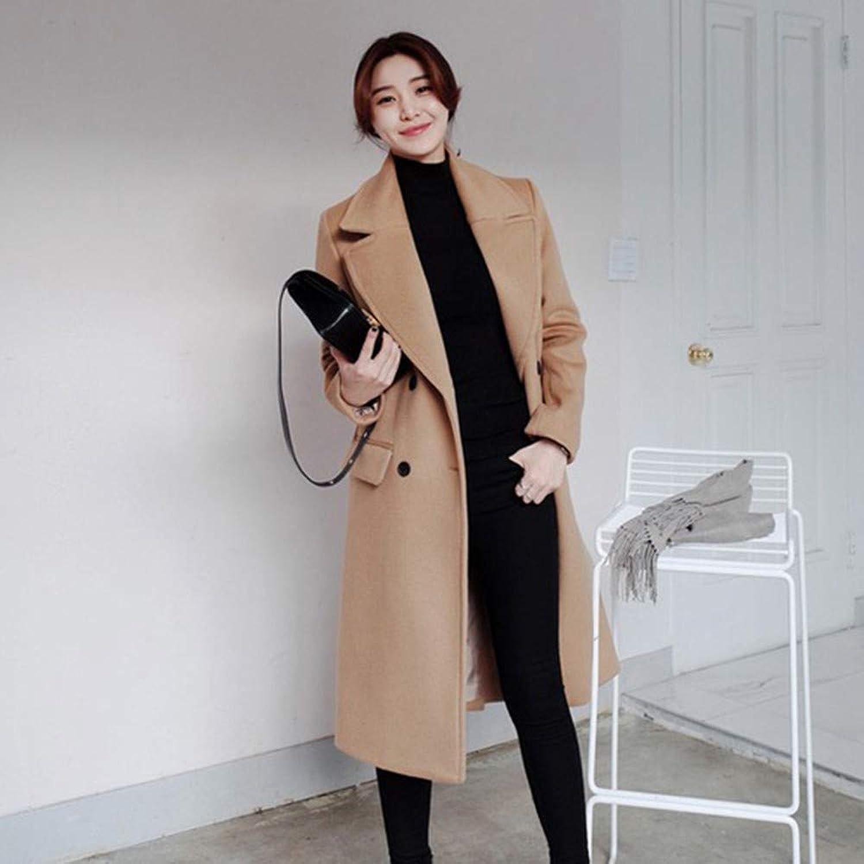 TJOIREJ Damen Mntel Koreanischen Stil Frauen Winter Feste Lange GeradeGraben Mantel Dame Herbst Elegante Lose Mntel Studenten, Dickere Linie, L