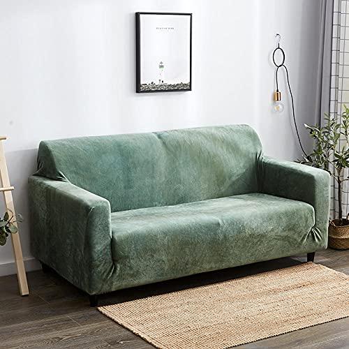 Funda Elástica para Sofá Cubierta del Funda de Protectora para sofá Material de Felpa Cian Hierba Verde Fresca 2 Fundas de Almohada 45x45cm Fácil de Instalar