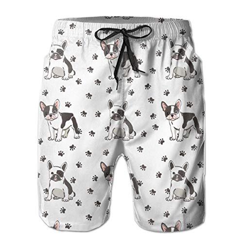 FEIFIVEP Cute French Bulldog Men's Shorts Beach Pants Pajama Sleep Pants Jogger Swim Trunks White