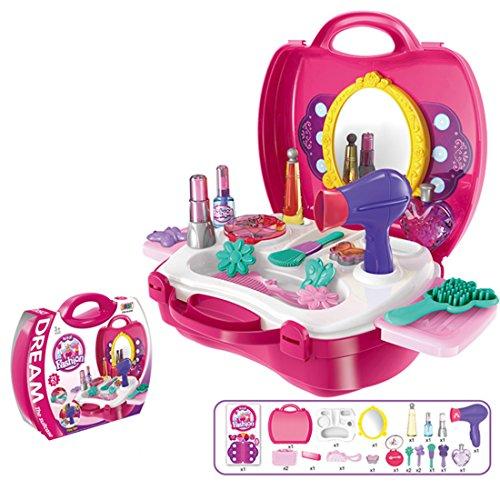 Beauty Giocattolo, Foxom 19 Pezzi Giocattolo di Bellezza Valigetta Set Giocattolo Rosa per Bambini oltre 3 Anni