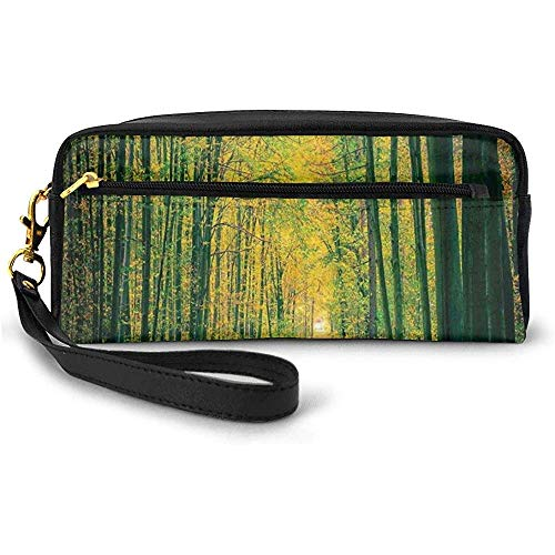 Pathway in Autumn Dramatic Road to Infinity Toned Warm Fall Colors Rural Scenery Print Small Makeup Bag Pencil Case 20cm * 5.5cm * 8.5cm