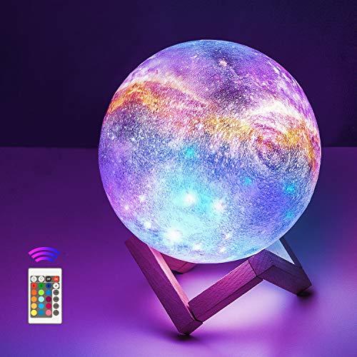 15cm Mondlampe mit Fernbedienung,OxyLED Sternenhimmel Dekoleuchte 3D Mondlampe LED RGB Mondlampe tragbares Nachtlicht mit Dimmbar,16 Lichtfarben Wechsel,Weihnachten,Geburtstag