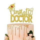 Decoración para tartas con purpurina dorada, decoración para tartas de graduación, graduación de la escuela médica, graduación de enfermera, clase de 2021, accesorio para fotos,